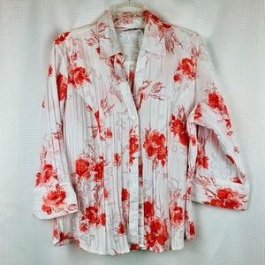 Joanna Floral Print Button Blouse 3/4 Sleeve